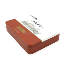 Flat rectangular concentrated tea bag packaging tin box with insert lid