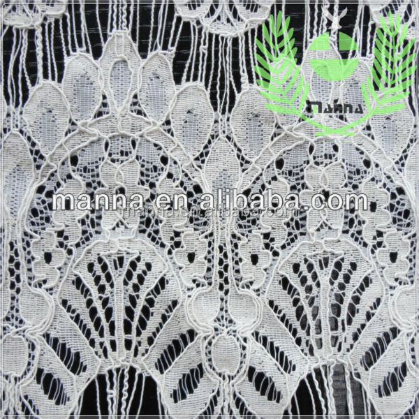 Nylon cotton graceful eyelash lace of fabric for long dress