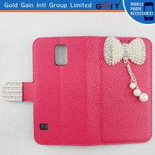 High Quality Litchi Pattern Leather Case for Galaxy S5 i9600 with Luxury Butterfly Diamond
