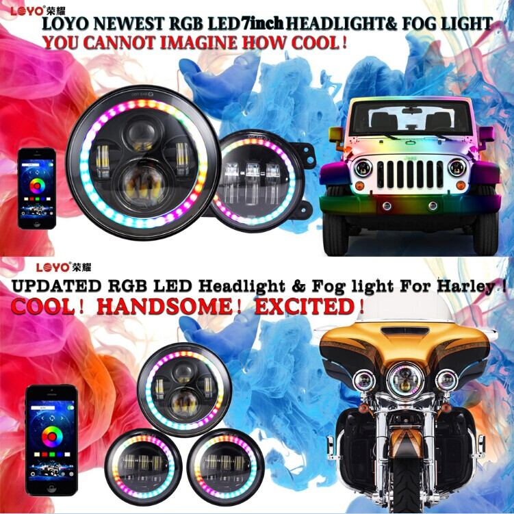 "2017 New product RGB halo ring 48W 7"" round led headlamp DRL 7 inch LED headlight with turning light for Jeep Wrangler"