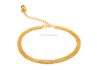 Most popular 18 carat gold plating line four transport bead small delicate anklets