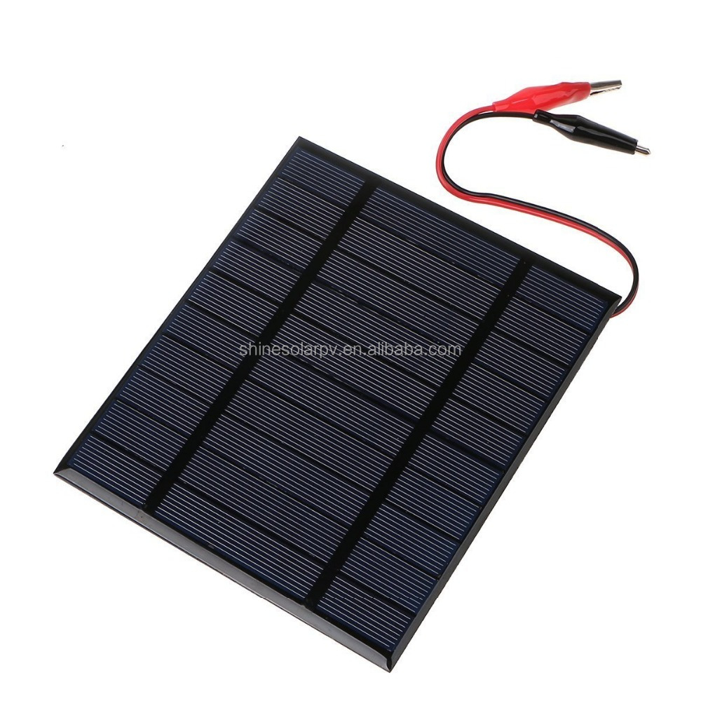 custom small pv solar panel with alligator clips / battery clips
