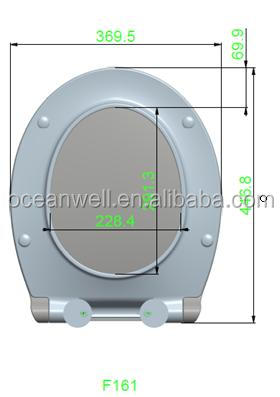 Bathroom toilet seat cover with soft close and two push button quick release system