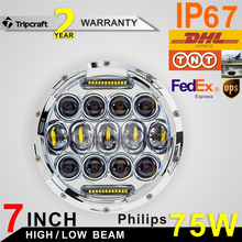 2016 New Arrival! 7 Inch Round LED Headlights 75W Hi/ Lo 7500LM Headlight Work Lamps DRL Fog Driving Lights