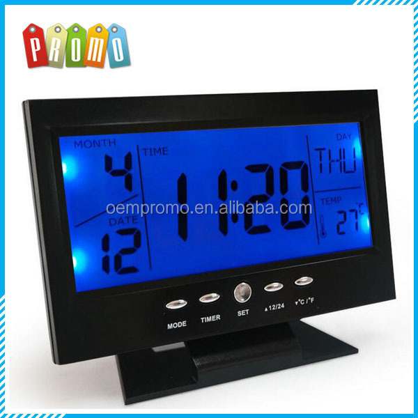Super big and clear LCD display multifunction digital calendar table clock