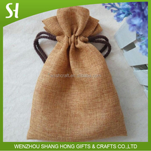 natural jute jewelry pouch jute bag wholesale with satin rope