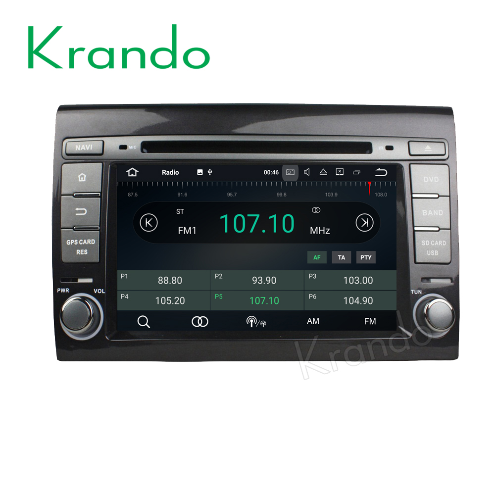 Krando Android 7.1 car multimedia radio for fiat bravo 2007-2012 car gps navigation dvd player wifi 2G RAM KD-FB701