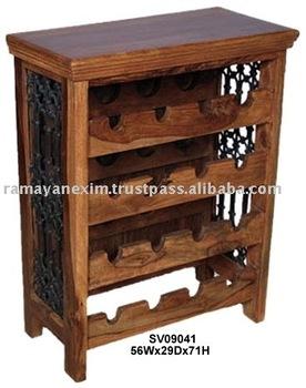Madera botella de vino rack gabinete del vino bar muebles para hoteles muebles de la india de - Muebles de la india ...