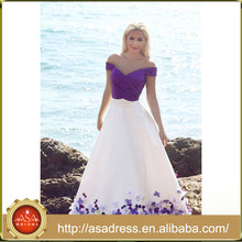 NSM-20 2015 New Fashion Design Formal Party Evening Dresses Applique Purple and White Long Dress Party Evening Elegant