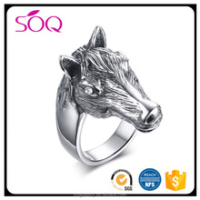 2017 Hot sale unique design high polished cute horse head shape jewelry 316l stainless steel ring