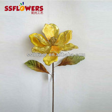 "2013 Hot Sale Artificial Christmas Flower 27"" Artificial Velvet Magnolia With Glitter"