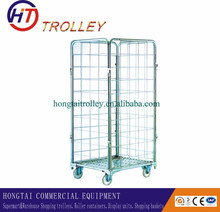 Industry Transportation Foldable Four Sides Metal Rolling Cage Cart