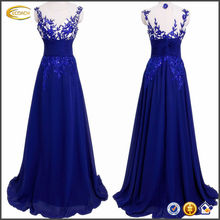 OEM wholesale lady Full-length Chiffon Illusion Neck Floral Evening prom dress with padded bra