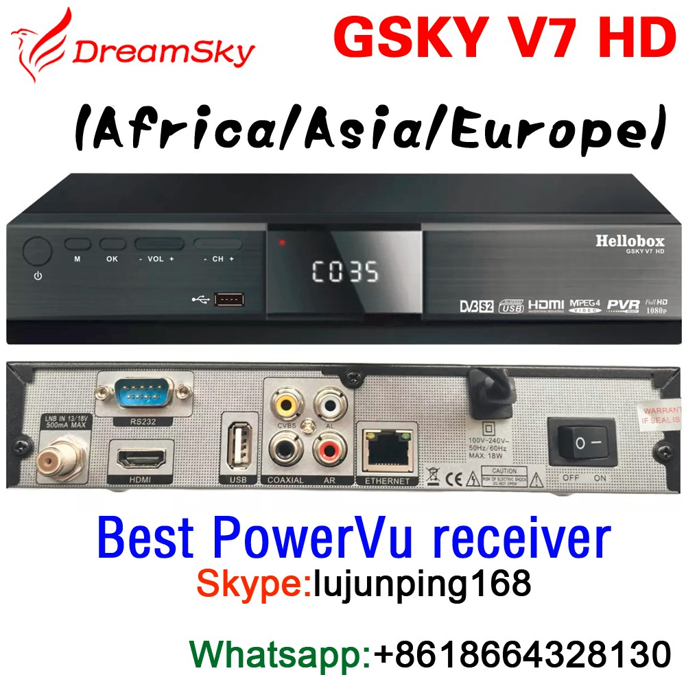 Hellobox GSKY V7 HD POWERVU AUTOROLL Full HD DVB-S2 Digital Satellite Receiver support 3G GPRS