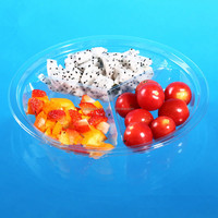 custom accept pet/pp/ps/pvc plastic tray include three compartments WITH LID for fruits/vegetables/dry fruits