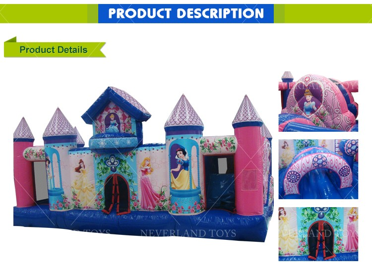 Hot Sale NEVERLAND TOYS Beautiful Inflatable Princess Castle & Inflatable Naughty Castle and Bouncer Pop for Kids
