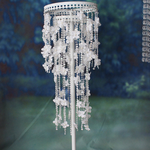 Crystal wedding decoration 0.95M tall column wrought iron flower stand