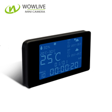 1080P Wireless WiFi Weather Station LED Display Portable Digital Desk Clock With Built-in Video Camera