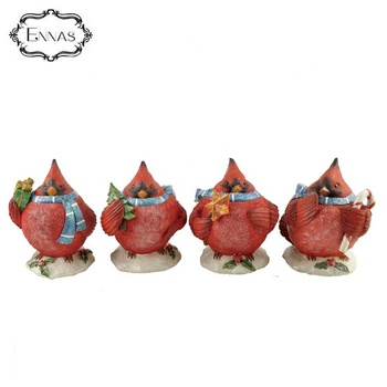 Resin Red Auerbach Cardinal Bird figurines for Christmas decoration