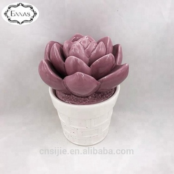 Ceramic faux succulent plant artificial flowers with pot