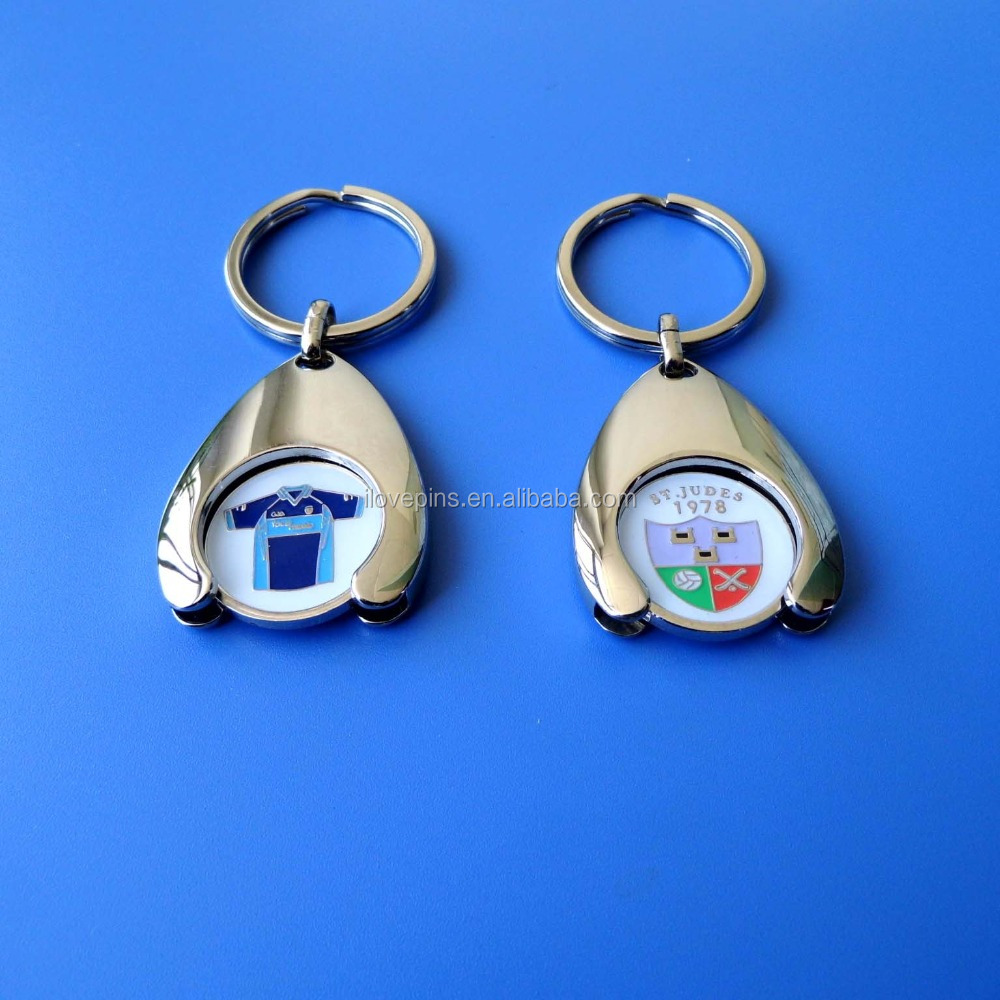 best selling shopping cart coin keychain, double sides enamel key ring