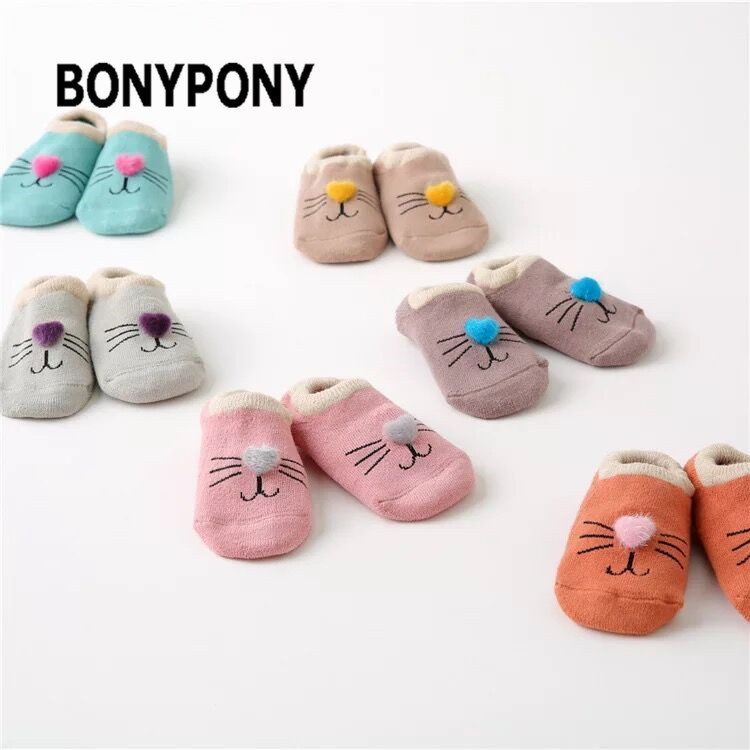 Bonypony Toddler Boys Gils Non Skid Ankle Cotton Sock Newborn 3D Cats Cartoon Animal Baby Low Cut Walker Foot Socks With Grip