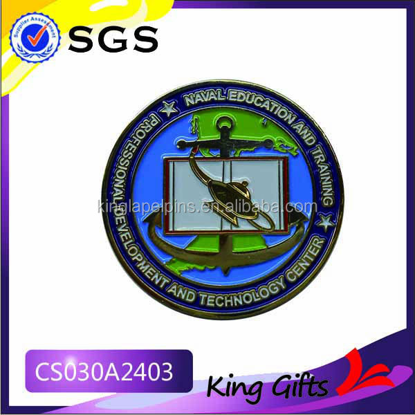 Soft enmael naval education and training souvenir challenge coin