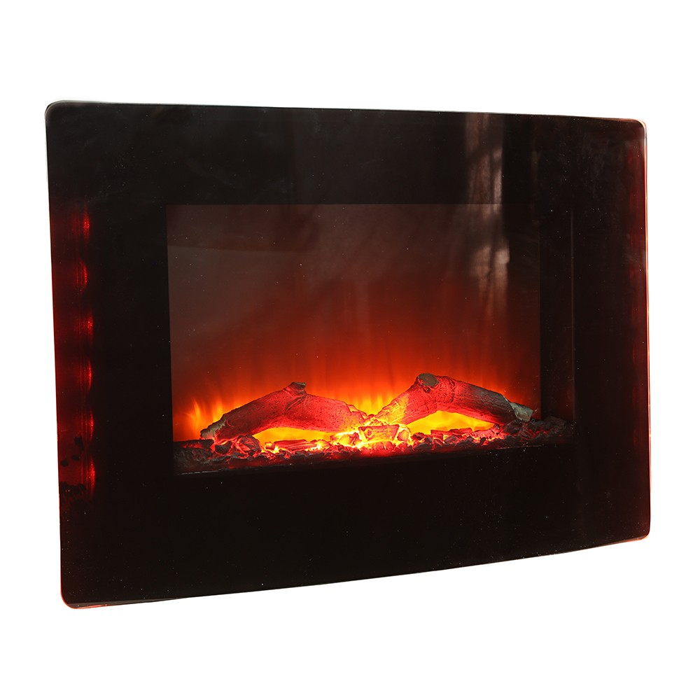 CE ERP ETL SAA ROHS Electric Fireplace Flat Glass Frame Wall Mounted Glass Fire Black Electric Heater Fire Place Wall Hanger