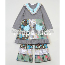High quality chinese clothing manufacturers gray floral a-line dress and pants outfit girls outfits