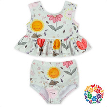 sweet smile sun flower ruffle short top and bloomer kids swimsuit