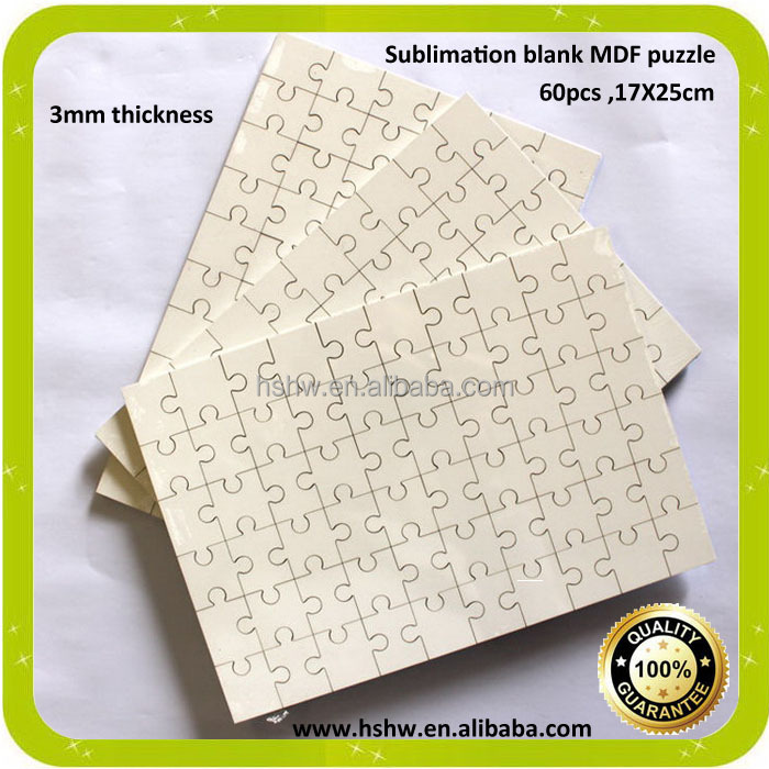 China manufacturer A4 sublimation printing mdf jigsaw