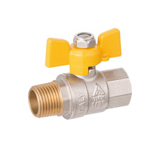 Two way butterfly handle copper ball valve gas water heater solenoid safety valve