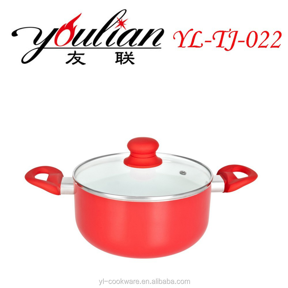 2015 wholesale unexpensive high quality aluminum ceramic non-stick casserole sauce pot stock pot cookware set