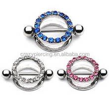 316l surgical stainless lock custom cool diamond piercing jewelry dangling Vibrating nipple rings