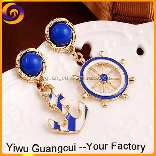 2017 Fashion navy blue and white boat anchor rudder earring