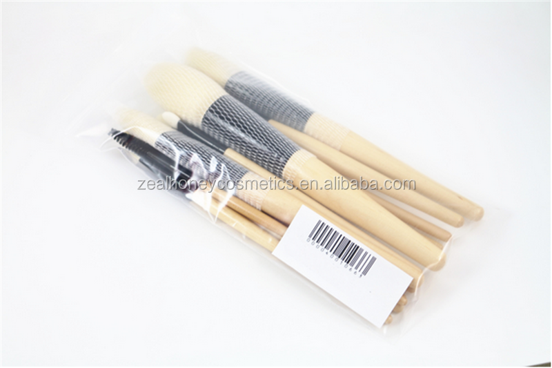 Wholesale custom high-quality 12 pcs anti-bacterial fiber wool log color cosmetic brush