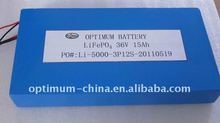 36V 15Ah LiFePO4 Li-ion e-bike battery pack, bicycle battery