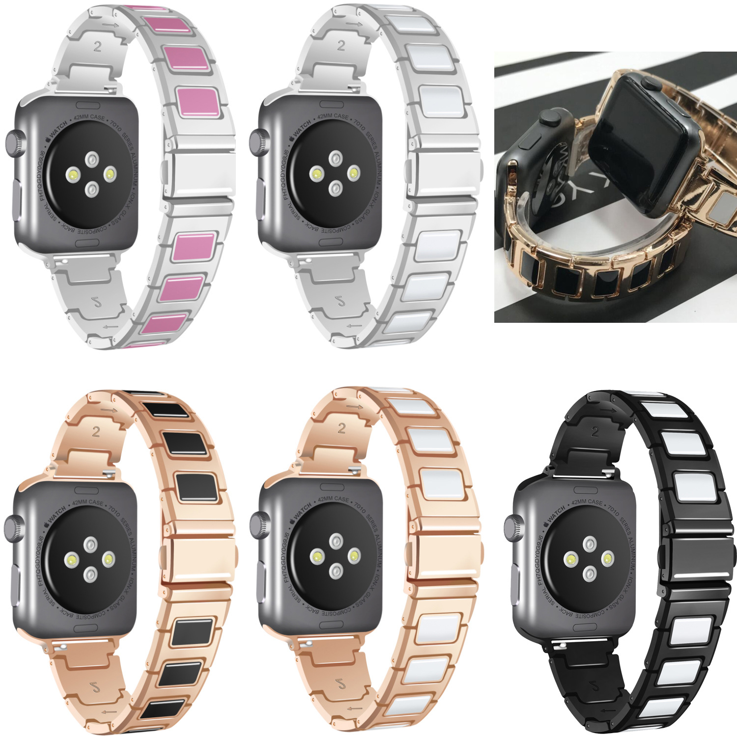 BOX-W Compatible for Apple Watch Band 38mm,42mm Replacement Stainless Steel & Ceramic Bracelet Straps Compatible for iWatch4 3