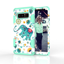 Full-body lovely elephant silicon pc Robot Combo Case Heavy Duty Cover Shockproof for Galaxy Note 8 Case