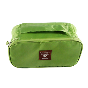 Fashionable green hard case cosmetic bags with compartments