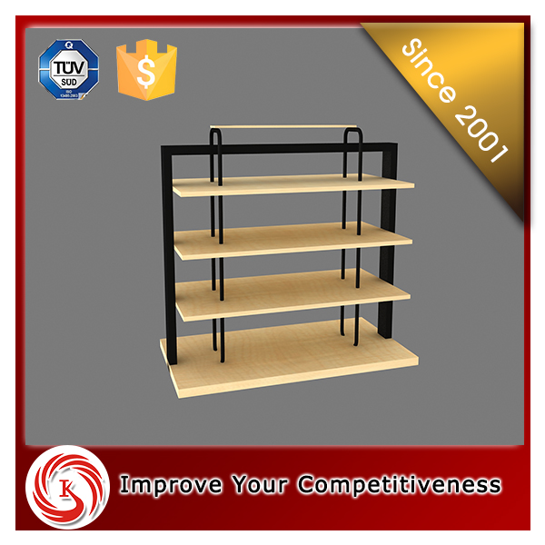 High quality cheap price flooring wooden t shirt display stand for retail
