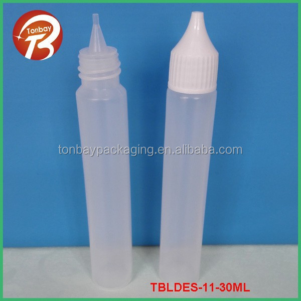 HOT SALES 30ml PE PEN SHAPE E-LIQUID BOTTLE WITH THIN TIP AND SCREW CAP TBLDES-11