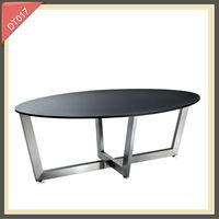 modern oval metal high gloss tempered glass dining table set