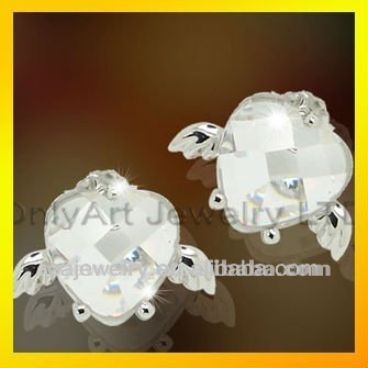 cheap 925 sterling silver jewelry high quality heart shaped studs earrings with clear stones paypal acceptable