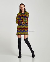Newest Design Long Sleeve Embroidered Colorful Dress Wholesale