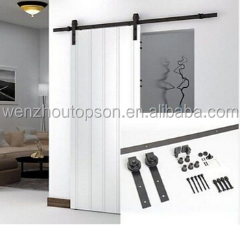 6.6 FT Black Antique Style Steel Sliding Barn Rustic Wood Door Closet Hardware