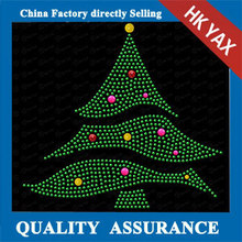 W0506 Christmas Tree hot fix motif,rhinestone iron on transfer hot fix motif crystal