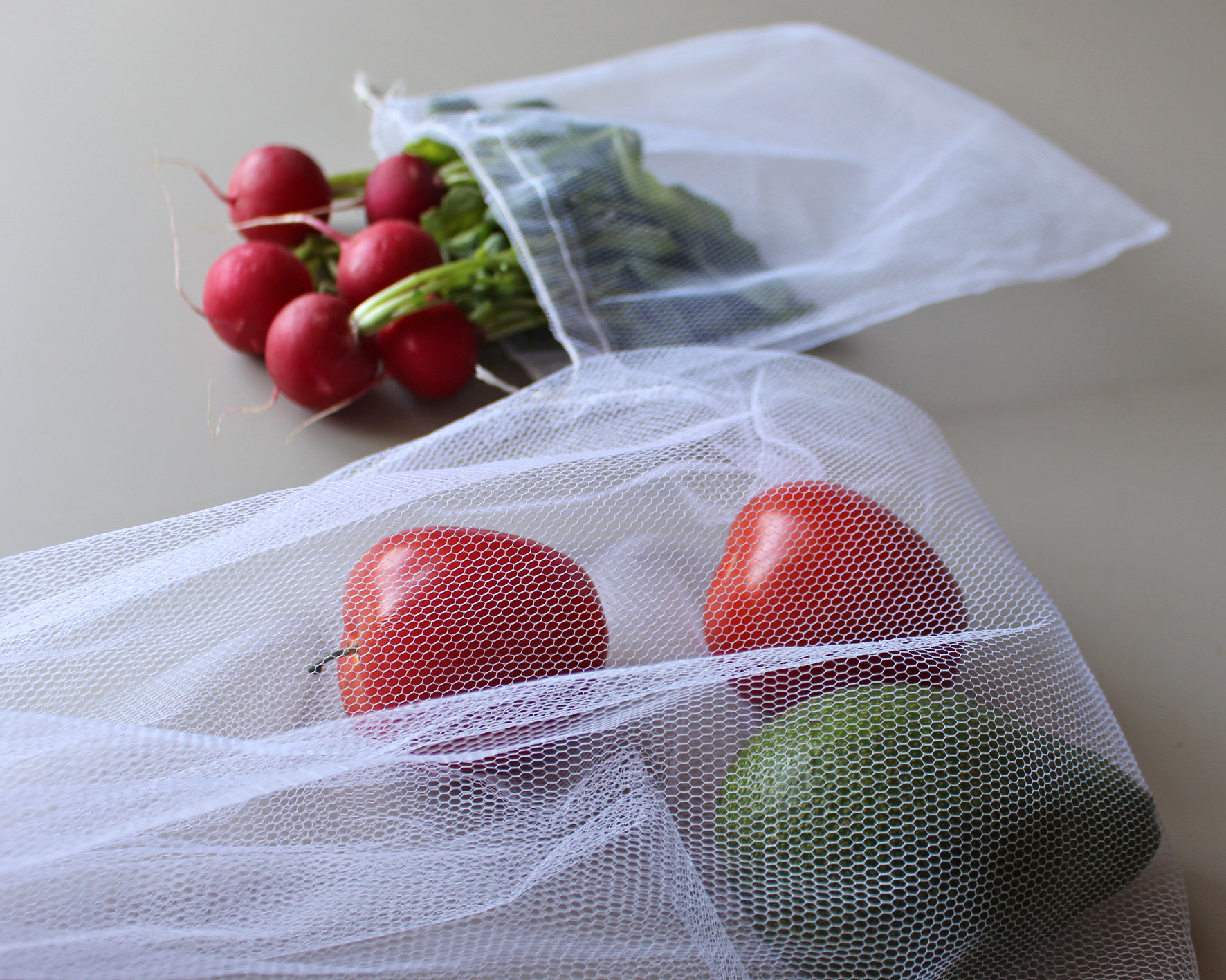 Zero waste reusable polyester grocery produce mesh bag