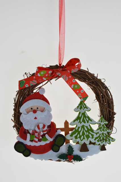 Cute wicker Christmas Wreaths decorated with santa claus/reindeer/bear decoration