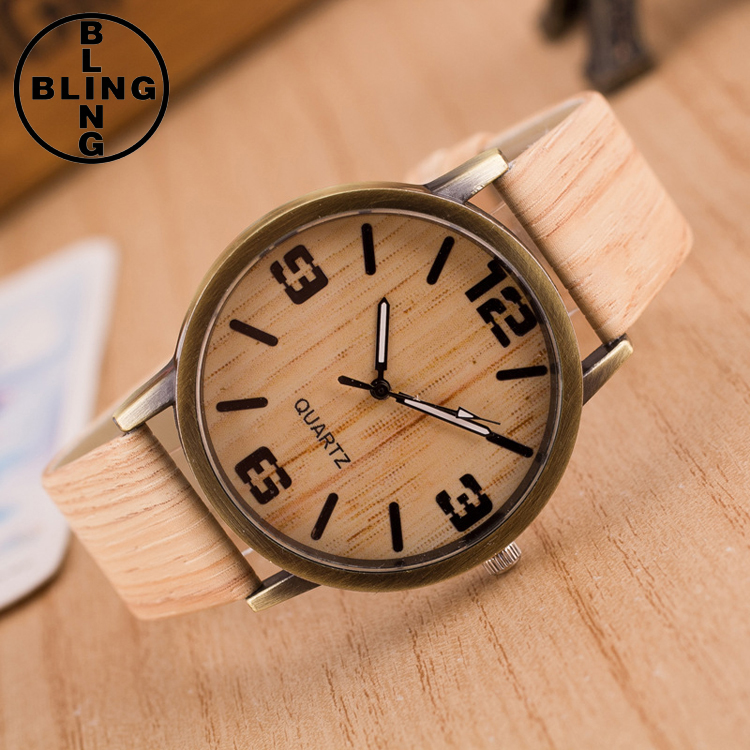 >>>2017 Hot Gifts imitation Wood Watches Women New Fashion Design Wood Dial Leather Watchband Clock Wrist watches/